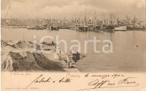 1902 CATANIA Mucchi di sabbia sul molo e barca a remi *Cartolina FP VG