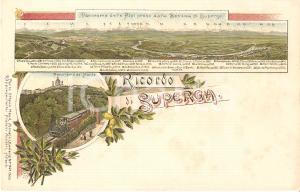 1900 ca TORINO Treno diretto alla Basilica di SUPERGA Cartolina ILLUSTRATA FP NV