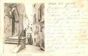 1900 PERUGIA Chiesa e Via Sant'Aagata ANIMATA *Cartolina FP VG
