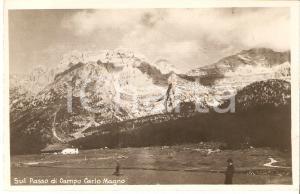 1930 ca PINZOLO (TN) Escursionisti al Passo di Campo CARLO MAGNO Cartolina FP NV