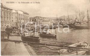 1915 ca MESSINA Pescatori al porto e panorama con la Palazzata *Cartolina FP NV