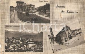 1945 SALUZZO (CN) Vedutine con Piazza Dante DUOMO e Monviso *Cartolina FP VG