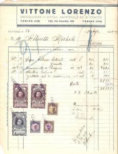 1935 TORINO Lorenzo VITTONE Decorazioni in pietra artificiale *Fattura 22x27