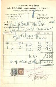 1935 TORINO Ambrogio BARONE Fabbrica carte da parati e patinate *Fattura 18x27