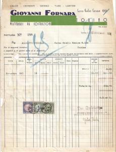 1935 TORINO Giovanni FORNARA Materiali da costruzione Tubi Lastre *Fattura 22x27