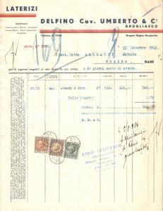 1935 GRUGLIASCO (TO) Cav. Umberto DELFINO Stabilimenti Laterizi *Fattura 22x27