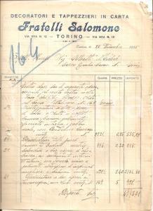 1934 TORINO Fratelli SALOMONE Decoratori e tappezzieri in carta *Fattura 22x27