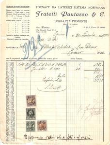 1935 TORRAZZA PIEMONTE Fratelli PAUTASSO Fornace sistema HOFFMANN *Fattura 22x27