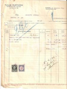 1933 TORINO Tullio RUSTICONI Materiale per l'edilizia *Fattura 22x27 cm