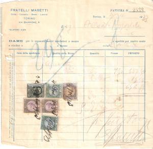 1933 TORINO Fratelli MASETTI Calce Cemento Gesso Laterizi *Fattura 20x20 cm