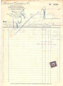 1934 TORINO Ferruccio GUIDETTI Materiale elettrico Sanitari *Fattura 22x27