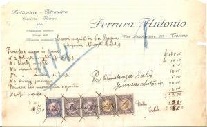 1934 TORINO Antonio FERRARA Lattoniere Idraulico Gasista Vetraio *Fattura 23x14