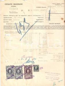 1934 CARRARA - AVENZA Cesare MAGNANI Marmi *Fattura 22x27