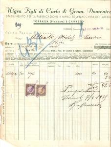 1934 TORRAZZA Stabilimenti NIGRA figli di Carlo Geometra Domenico *Fattura 22x27