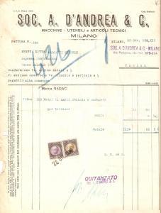 1934 MILANO Società A. D'ANDREA & C. Utensili e articoli tecnici *Fattura 22x27