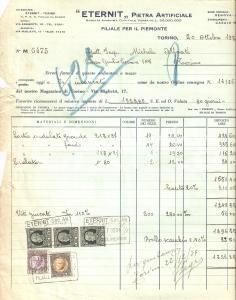 1934 TORINO Società ETERNIT Pietra artificiale *Fattura 22x27