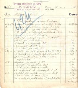 1935 TORINO Officina M. OLIVERO Costruzioni in ferro *Fattura 22x24