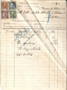 1934 TORINO Michele TERLIZZI Vendita fornelli *Fattura 17x24 cm