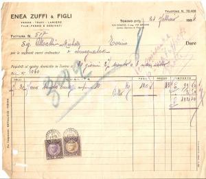 1934 TORINO Enea ZUFFI e figli - Vendita ferro e lamiere *Fattura 22x20