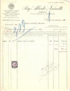 1934 TORINO Alberto NEIROTTI Cementi istriani Cementi di CASALE *Fattura 22x27