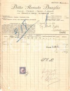 1934 PIASCO (CN) Ditta RENATO DEAGLIO - Calce e cementi *Fattura 22x28