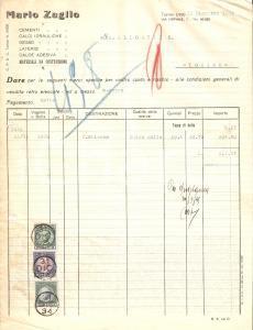 1934 TORINO Mario ZAGLIO Materiali da costruzione Gessi Cementi *Fattura 22x27