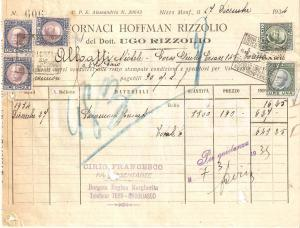 1934 NIZZA MONFERRATO Fornaci HOFFMAN RIZZOLIO di Ugo RIZZOLIO *Fattura 22x27