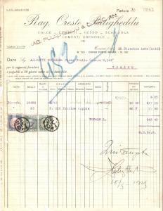 1934 TORINO Oreste PULIGHEDDU Cementi GRENOBLE Scagliola Gesso *Fattura 22x27