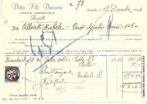 1934 STRADELLA (PV) Ditta Fratelli DACARRO Calce idraulica *Fattura 20x14