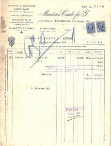 1934 TORINO Segheria Carlo MAUTINO Commercio legnami Cornici *Fattura 22x27