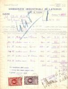 1934 TORINO Consorzio industriale in laterizi *Fattura 22x27