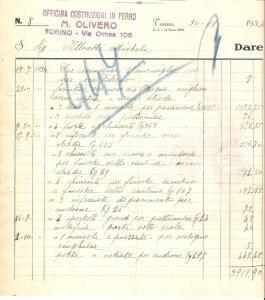 1934 TORINO Officina M. OLIVERO Costruzioni in ferro *Fattura 22x24