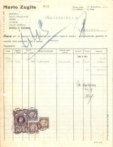 1934 TORINO Mario ZAGLIO Laterizi Gesso Calce adesiva Cemento *Fattura 22x27