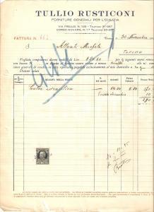 1934 TORINO Tullio RUSTICONI Forniture generali per l'edilizia *Fattura 22x27