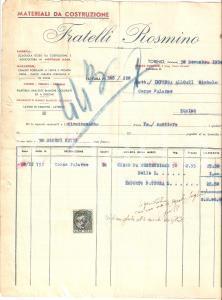 1934 TORINO Materiali da costruzione Fratelli ROSMINO Calce bianca Fattura 22x27