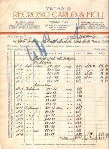 1934 TORINO Vetraio Carlo RECROSIO Cristalli Vetrate artistiche *Fattura 22x27