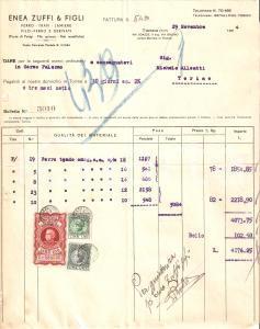 1934 TORINO Enea ZUFFI e figli - Vendita ferro e lamiere *Fattura 22x27