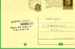 1942 TRIESTE Cappelleria FACCHINETTI- Cartolina postale a ditta CERNUSCHI FG VG