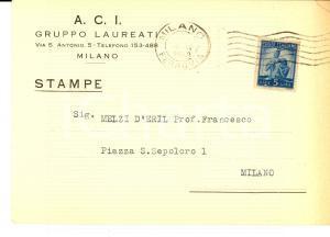 1949 MILANO A.C.I. GRUPPO LAUREATI Invito incontro bishop NIRMALANANDA Cartolina