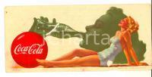 1960 ca COCA-COLA Carta assorbente *Pubblicità VINTAGE 19x10 DANNEGGIATA