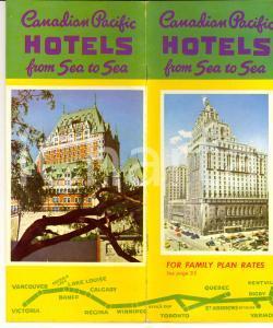1956 CANADIAN PACIFIC HOTELS From sea to sea *Pieghevole ILLUSTRATO VINTAGE