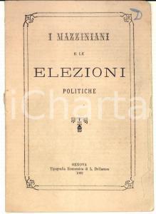 1882 GENOVA Giuseppe Lodovico FOSSATI I mazziniani e le elezioni politiche