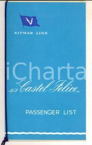 1956 SITMAR LINE S/S CASTEL FELICE Passenger list MONTREAL-SOUTHAMPTON
