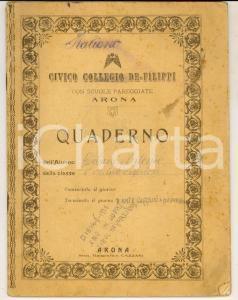 1928 ARONA Civico Collegio DE FILIPPI Quaderno Antonio GIULIANI italiano
