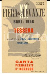1956 BARI FIERA DEL LEVANTE Tessera del rag. Lorenzo CASSANO