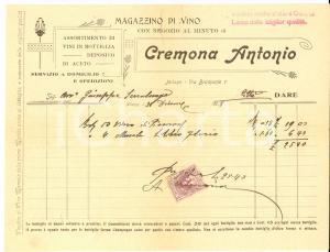 1908 MILANO Antonio CREMONA Magazzino di vino - Fattura con bollo