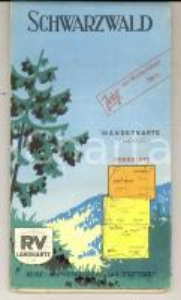 1960 ca FORESTA NERA / SCHWARZWALD (D) Mappa stradale - Wanderkarte