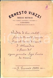 1905 LOMELLO Conti FIGAROLO TARINO DI GROPELLO vendono terreno a Enrico SEGU'