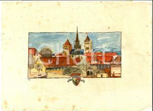 1930 ca ARTE GINEVRA Veduta panoramica del centro *Acquerello 30x21 cm