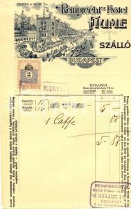 1909 BUDAPEST Reinprecht's Hotel FIUME - Szallo *Fattura ILLUSTRATA con bollo